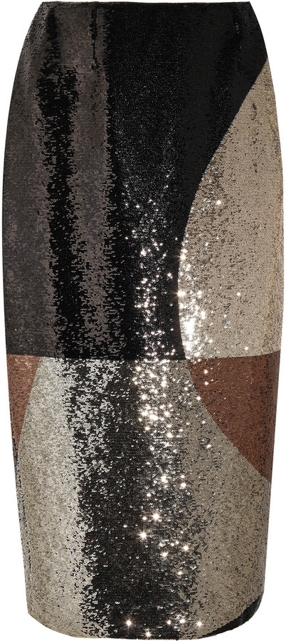 TOM FORD Sequined stretch-satin skirt
