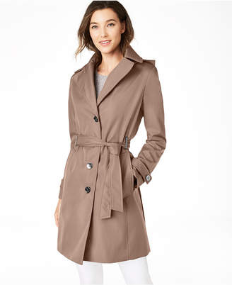 Calvin Klein Petite Belted Hooded Water Resistant Trench Coat, s