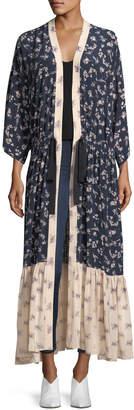 Cinq à Sept Mariana Floral-Print Silk Cardigan Duster