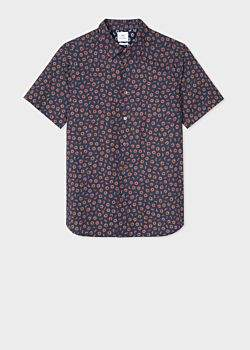 Paul Smith Men's Slim-Fit Navy 'Pencil Sharpenings' Print Short-Sleeve Cotton Shirt