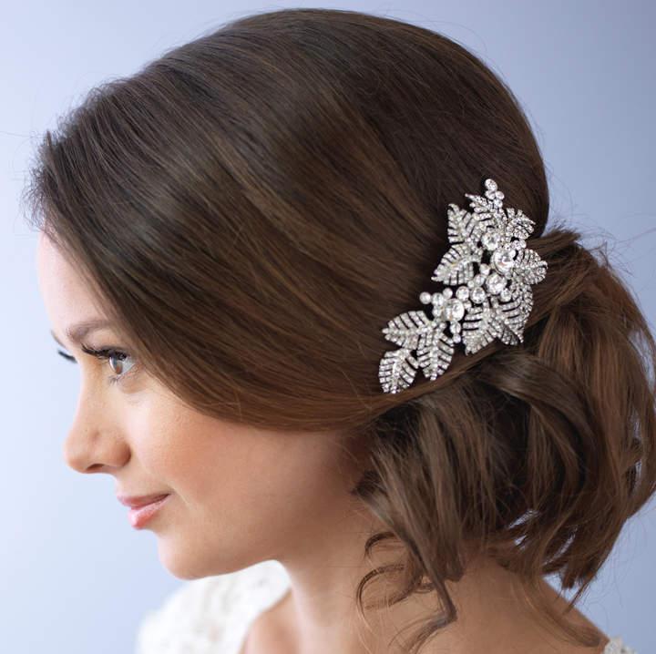 Etsy Floral Bridal Hair Comb, Rhinestone Hair Comb, Floral Wedding Hair Comb, Hair Combs for Wedding, Sil