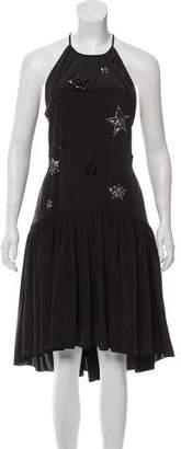 Zac Posen Embellished Pleated Midi Dress