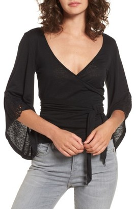 Women's Sun & Shadow Bell Sleeve Wrap Top $45 thestylecure.com