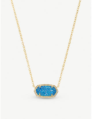 Kendra Scott Elisa 14ct gold-plated and cobalt drusy pendant necklace