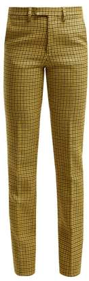 Raf Simons Houndstooth Wool Trousers - Womens - Yellow
