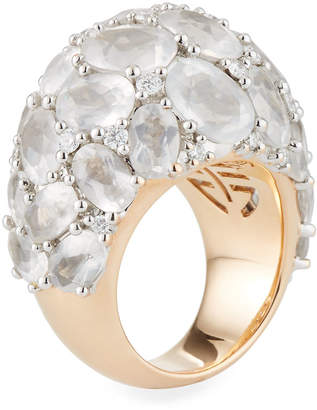 Mimi Milano 18k Rose Gold Milky Quartz & Diamond Ring, Size 7.5
