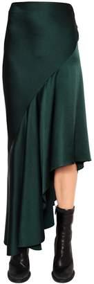 Haider Ackermann Ruffled & Asymmetric Techno Satin Skirt