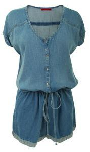 Velvet Washed denim playsuit