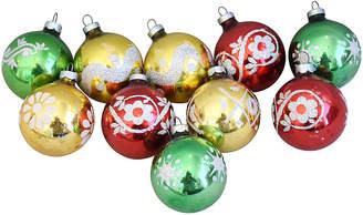 One Kings Lane Vintage Glitter Christmas Ornaments w/Box - Set of 10