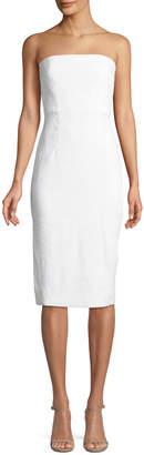 Milly Eva Strapless Linen-Stretch Sheath Dress