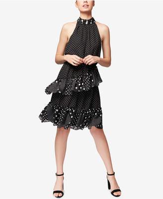 Betsey Johnson Polka Dot Ruffled Halter Dress, Created for Macy's