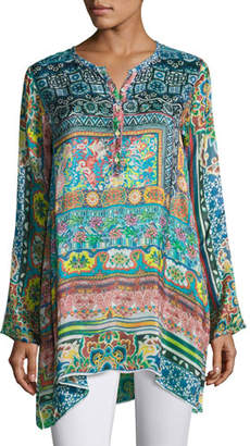 Johnny Was Frame Printed Silk Georgette Tunic