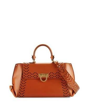Salvatore Ferragamo Sofia Medium Perforated Leather Satchel Bag, Sella $2,500 thestylecure.com