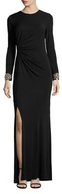 Shoshanna MIDNIGHT Embellished-Cuff Wen Jersey Gown $650 thestylecure.com