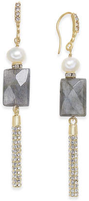 Paul & Pitu Naturally Two-Tone Freshwater Pearl (5 x 7mm) & Stone Linear Drop Earrings