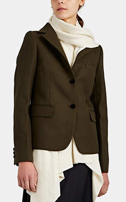 Sacai Women's Wool Knit-Inset Blazer Jacket - Dk. Green