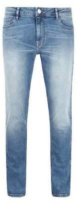 Burton Mens Mid Blue Salt and Pepper Carter Tapered Fit Jeans