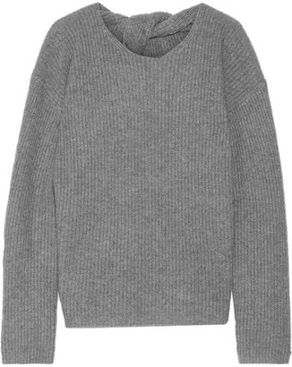 Theory - Twylina Split-back Ribbed Cashmere Sweater - Gray $445 thestylecure.com