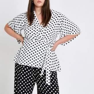 River Island Plus white polka dot kimono sleeve top