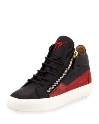 Giuseppe Zanotti Men's Mid-Top Two-Tone Platform Sneakers, Black/Red