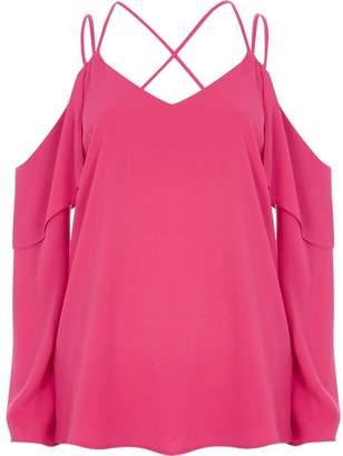 River Island Womens Pink cold shoulder cross neck top