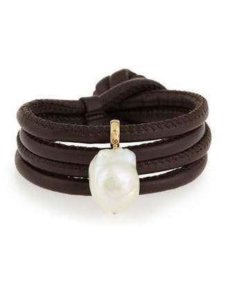 Mizuki Convertible Leather Wrap Bracelet/Choker with Baroque Pearl, Brown
