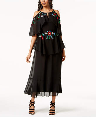 Nanette Lepore Nanette by Floral Embroidered Flounce Maxi Dress