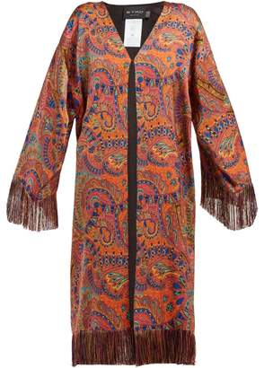 Etro Fringed Paisley Print Crepe Coat - Womens - Pink Print