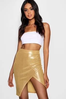 boohoo Metallic Wrap Mini Skirt