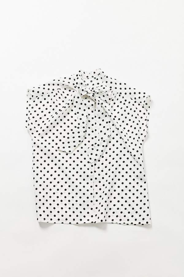 Polka Dot Tie-Neck Button-Down Shirt