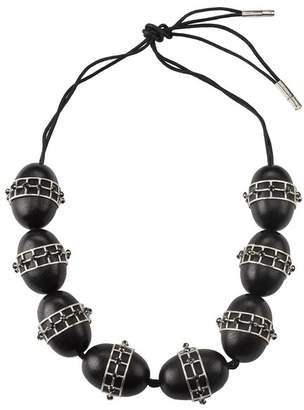 Josie Natori Acacia Wood With Silver Round Cage Necklace