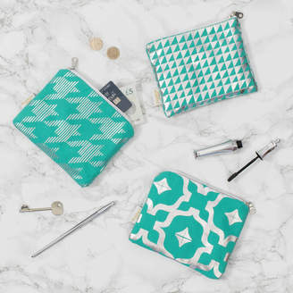 PENELOPE HOPE Metallic Purse In Teal And Silver