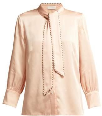 Peter Pilotto Tie Neck Grosgrain Trimmed Satin Blouse - Womens - Pink