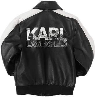 Karl Lagerfeld Logo Print Leather Bomber Jacket