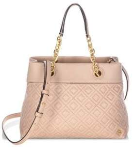 Tory Burch Diamond Stitched Leather Satchel