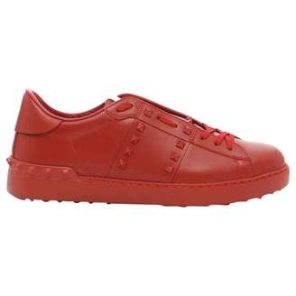 Rockstud Red Leather Trainers