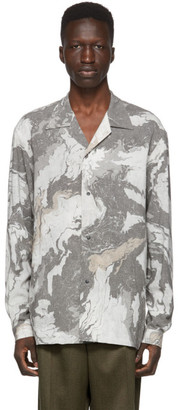 SASQUATCHfabrix. Grey Open Collar Suminagashi Shirt