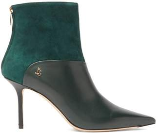 Jimmy Choo Beyla 85 Leather And Suede Ankle Boots - Womens - Dark Green