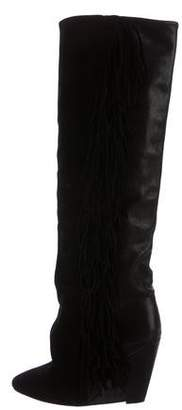 Isabel Marant Fringe Wedge Knee-High Boots