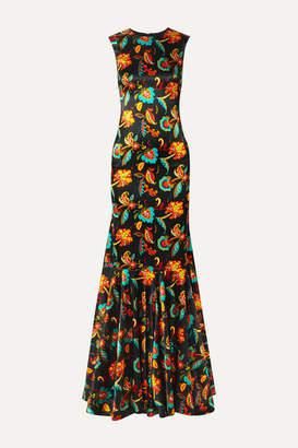 Caroline Constas Allonia Fluted Floral-print Silk-blend Satin Gown - Black