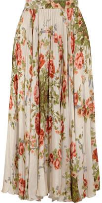 Gucci for NET-A-PORTER - Pleated Floral-print Silk Midi Skirt - Ecru