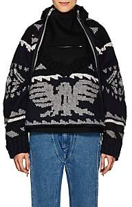 Sacai Women's Folkloric-Knit Wool Jacket - Navy