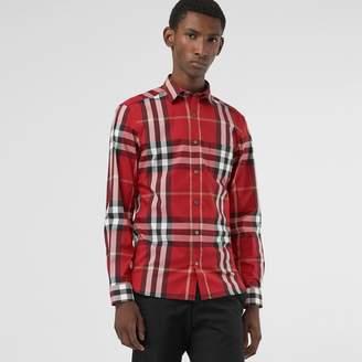 Burberry Check Stretch Cotton Shirt
