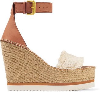 See by Chloé - Fringed Canvas And Leather Espadrille Wedge Sandals - Cream $190 thestylecure.com