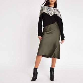 River Island Khaki bias cut midi skirt