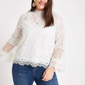 ed98ee7e489ec River Island Womens Plus White lace long sleeve blouse