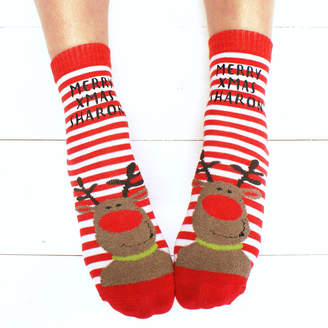 4a0d06e8e95d Sparks And Daughters Personalised Reindeer Christmas Slipper Socks