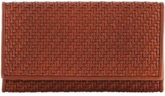 Ermenegildo Zegna Pelle Tessuta Woven Leather iPhone 7 Wallet, Brown
