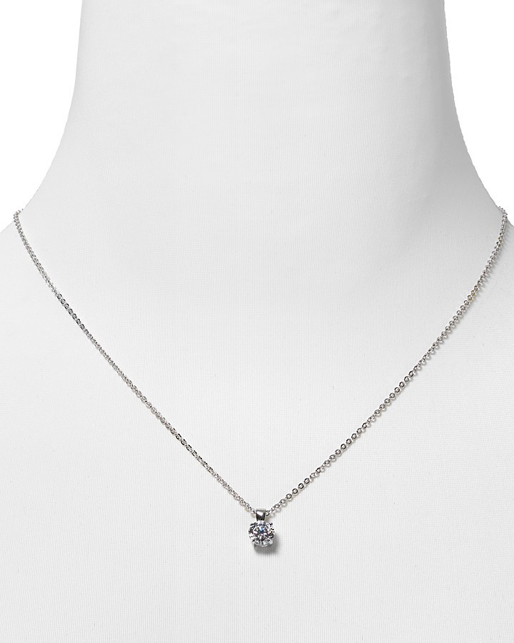 "Crislu Round Solitaire Pendant Necklace 16"""