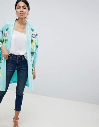 Asos Design DESIGN embellished floral kimono jacket